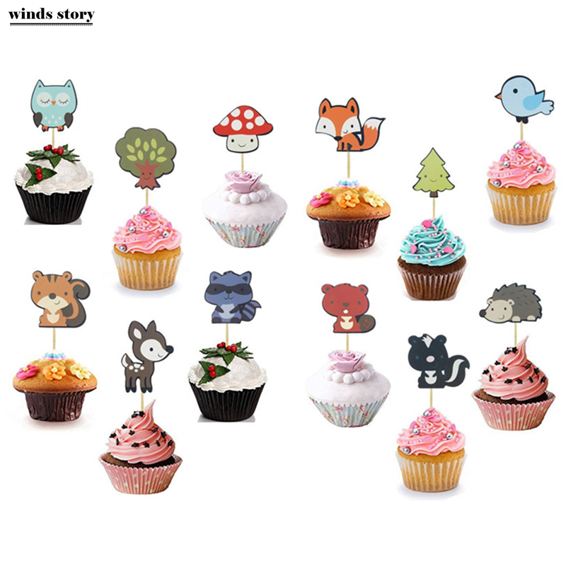 3 Pack of 12Pcs Woodland Party Cupcake Toppers Forest ...