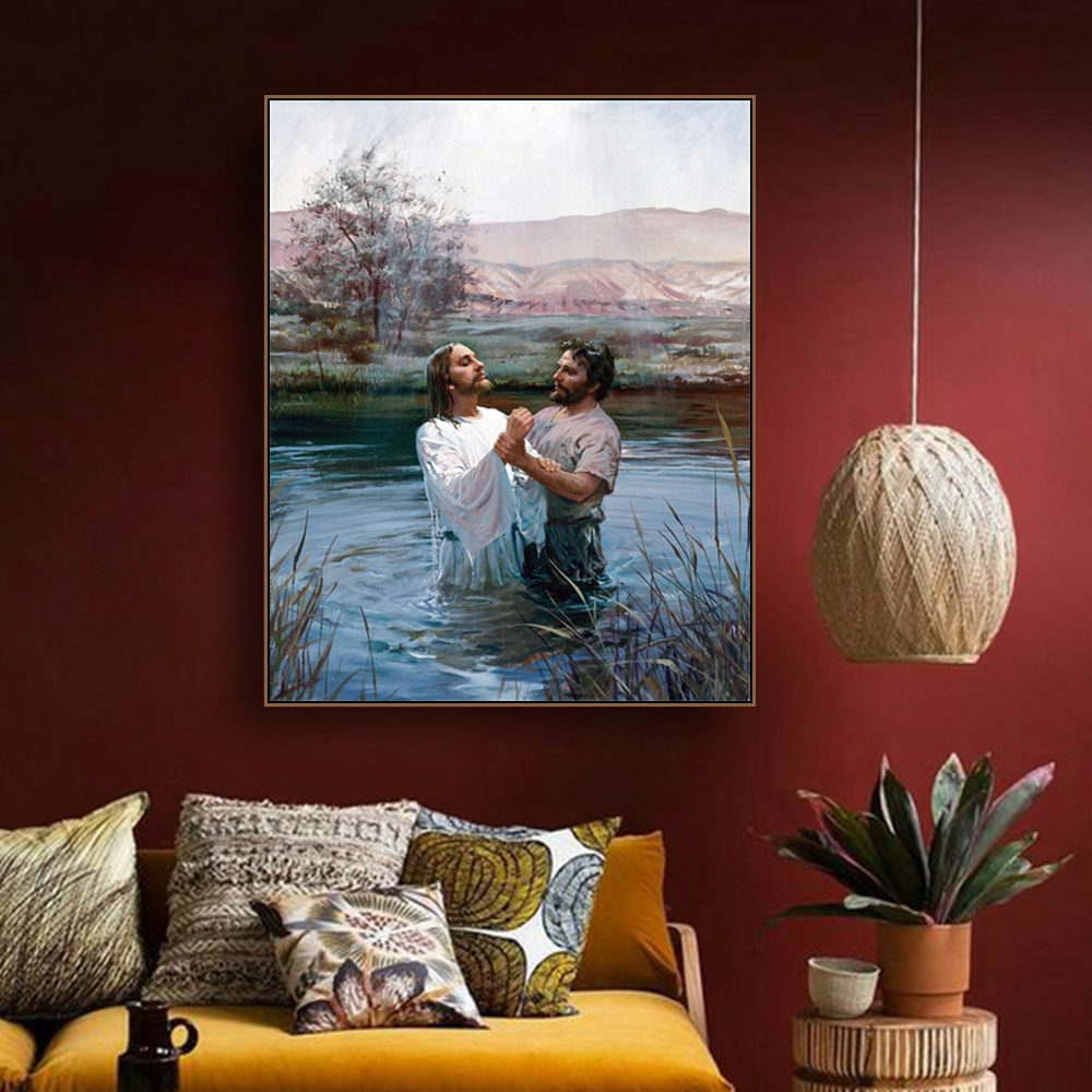 Baptism of Jesus Print Canvas Painting Calligraphy Art Print Home Decor Canvas Wall Art Painting Picture for Living Room Church in Painting Calligraphy from Home Garden