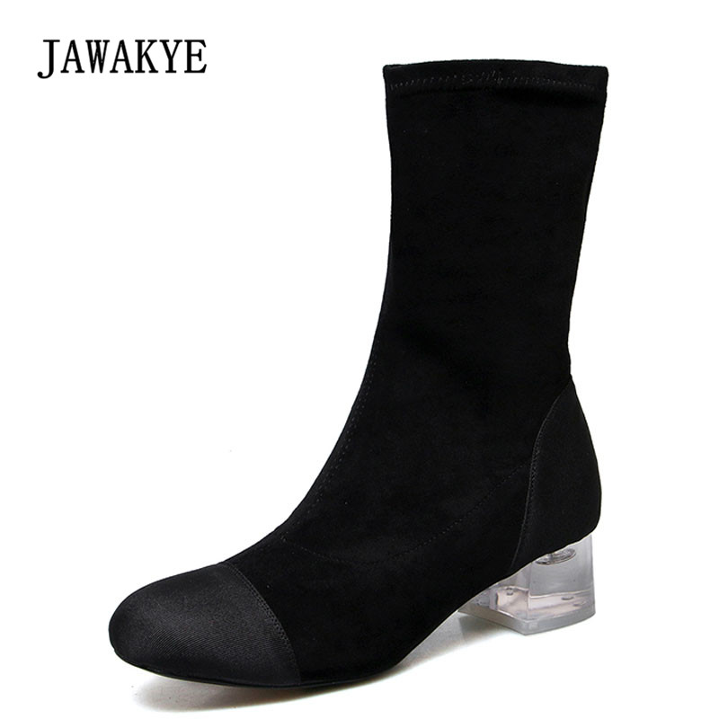 3593ece9fef3 2018 Chic Crystal Heel Ankle Boots Woman Round Toe Patchwork Transparent  Clear Heel Boots Women Martin