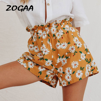 ZOGAA Bohemian Ginger Frilled Trim Elastic Waist Floral Print Shorts Women Summer High Waist Beach Style Casual Chiffon Shorts ruffle trim self tie waist shorts
