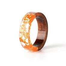 Handmade Wood & Resin Rings with Flowers (11 Colors)