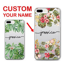 Personalized Custom Name Text Tropical Floral Soft Clear Phone Case For iPhone 6 6S XS Max 7 7Plus 8 8Plus 5 X SAMSUNG Galaxy(China)