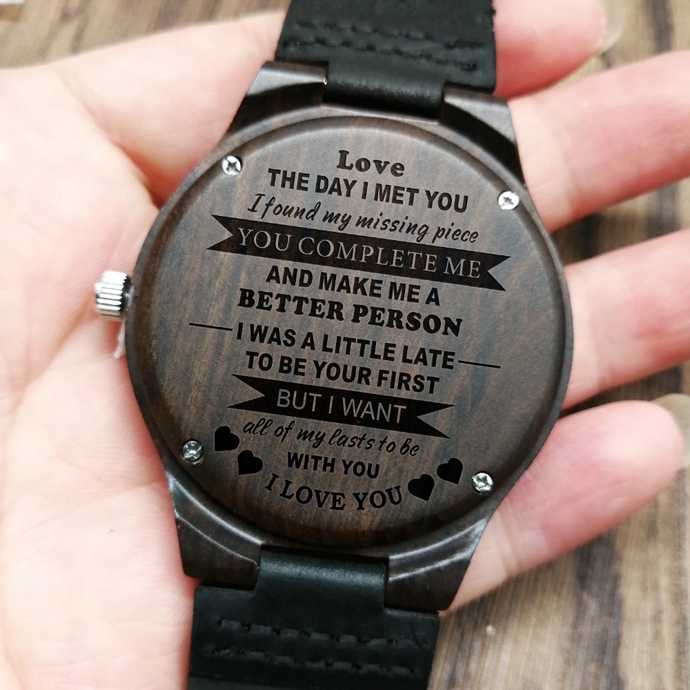 Personalized Wooden Custom Watch for Men Boyfriend Gifts Engraved Confirm Text for Black Sandalwood Watch Can't Change the Text