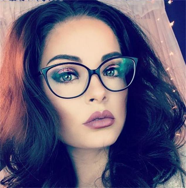 19c841548 Olho de Gato do vintage Óculos de Armação Mulheres Óculos Quadro Feminino  Miopia Revestimento Clássico Transparente