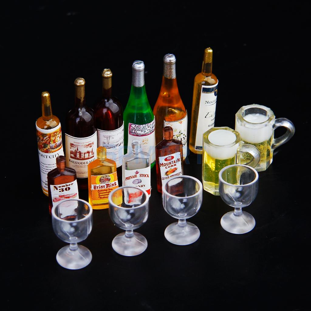 6 Dollhouse Miniature Wine Whiskey Bottles Set Shop Pub Bar Drink Accessory