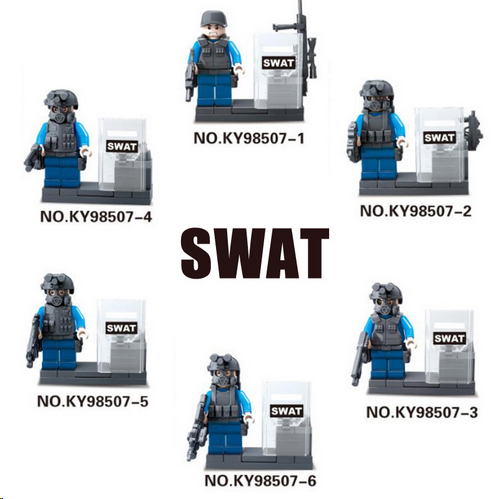 Lego building blocks 6pcs City police SWAT CS Army soldiers with Weapon Gun fit