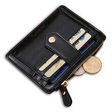 Hohe Qualität Echtes Leatehr Kleine Männer Brieftasche Kartenhalter Reißverschluss Tasche Mini Haspe Geldbörse Geschenke Für Männer