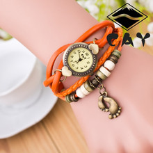 Antique Bracelet Quartz Watches ladies colorful faux leather band with the little foot charm and wooden beads women watches