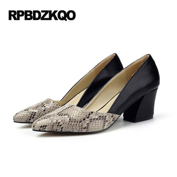 High Heels Pointed Toe 2017 Snakeskin Pumps Size 33 Chunky Big Small 12 44 Snake Ladies Mid Shoes Black Novelty 4 34 Evening