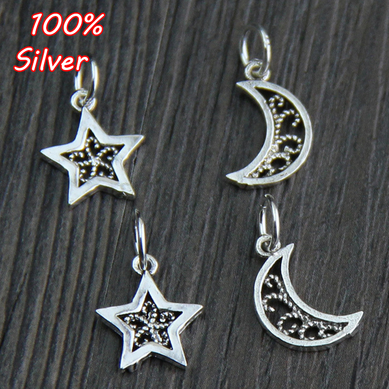 2pcs New Genuine 100% 925 Sterling Silver Moon Star Bead Fit Original Charms Bracelet Jewelry Making