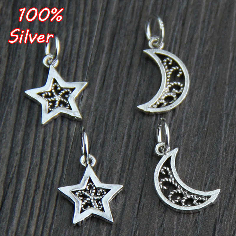 2e3ba909d 2pcs 2018 New Genuine 100% 925 Sterling Silver Moon Star Bead Fit Original  Charms Bracelet