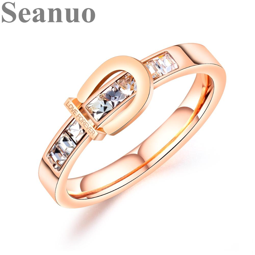 Seanuo Finger-Ring Stainless-Steel Jewelry Queen Rose-Gold-Color Wedding Fashion Women