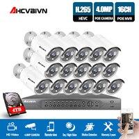 16CH 4 K POE NVR 5MP 4MP 3MP 2MP комплект PoE IP Камера P2P облако Onvif FTP видеонаблюдения Системы ИК Открытый Ночное видение комплект видеонаблюдения