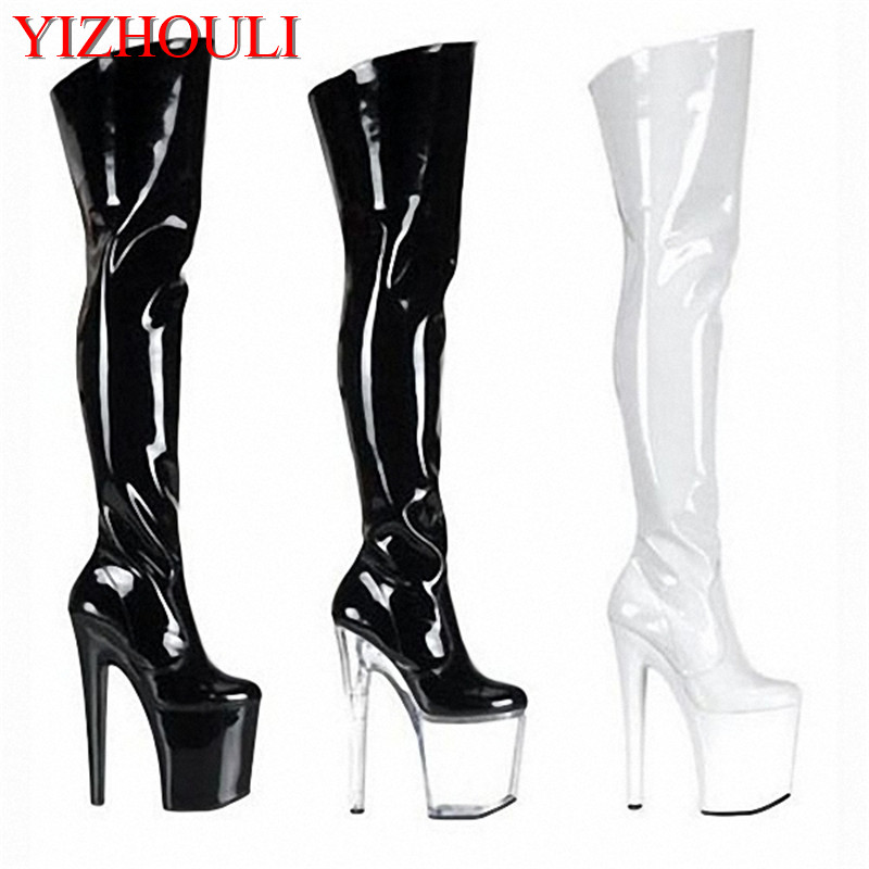 20cm Ultra High Heels Boots Barreled Platform Japanned Leather 6 Inch Performance Shoes Plus Size Thigh High Boots For Women
