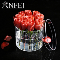 ANFEI New Arrivals 2 Differents Style Round Shape Makeup Organizer Clear Acrylic Rose Flower Box Luxury Handmade Gift Box C217