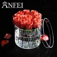ANFEI Nouveautés 2 Différents Style Forme Ronde Maquillage Organisateur Clair Acrylique Rose Fleur Boîte De Luxe À La Main Boîte Cadeau C217