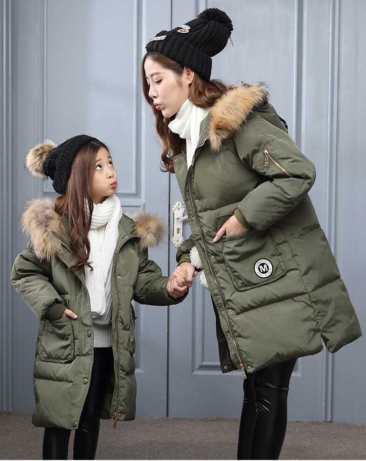 hot sale Retail New Family daughter & mom Down jacket Baby girl down coat Children Mother casual long style jackets clothing retail new arrival100
