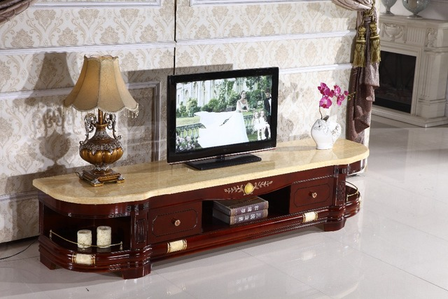 Retro Wooden Tv Stand Storage Drawer Marble Top Made In China Living Room Furniture