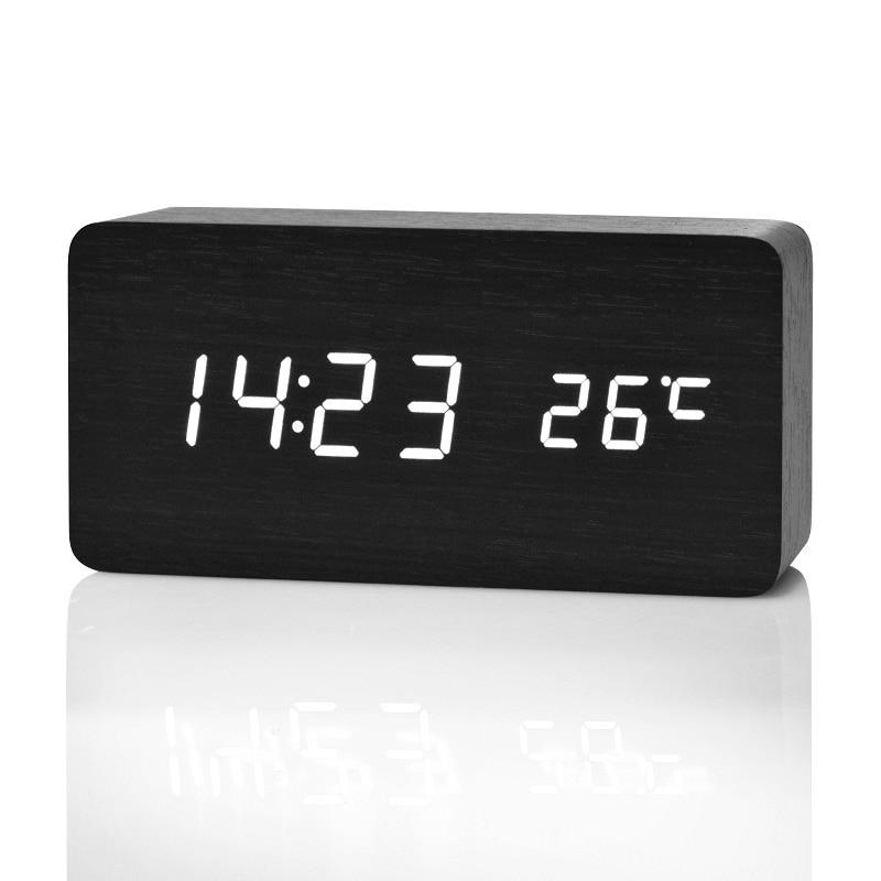 Horloge alarme digitale à LED en bois