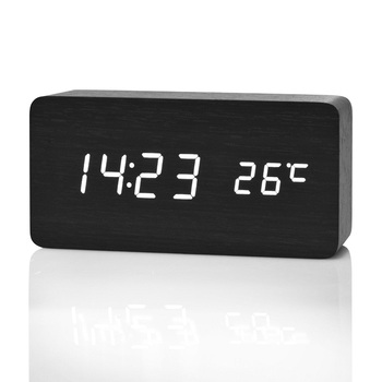 Horloge alarme digitale à LED en bois