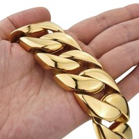 Stainless Steel Bracelets Newest High Quality Bracelets Men Large Heavy Stainless Steel Bracelet Link Wrist Gold