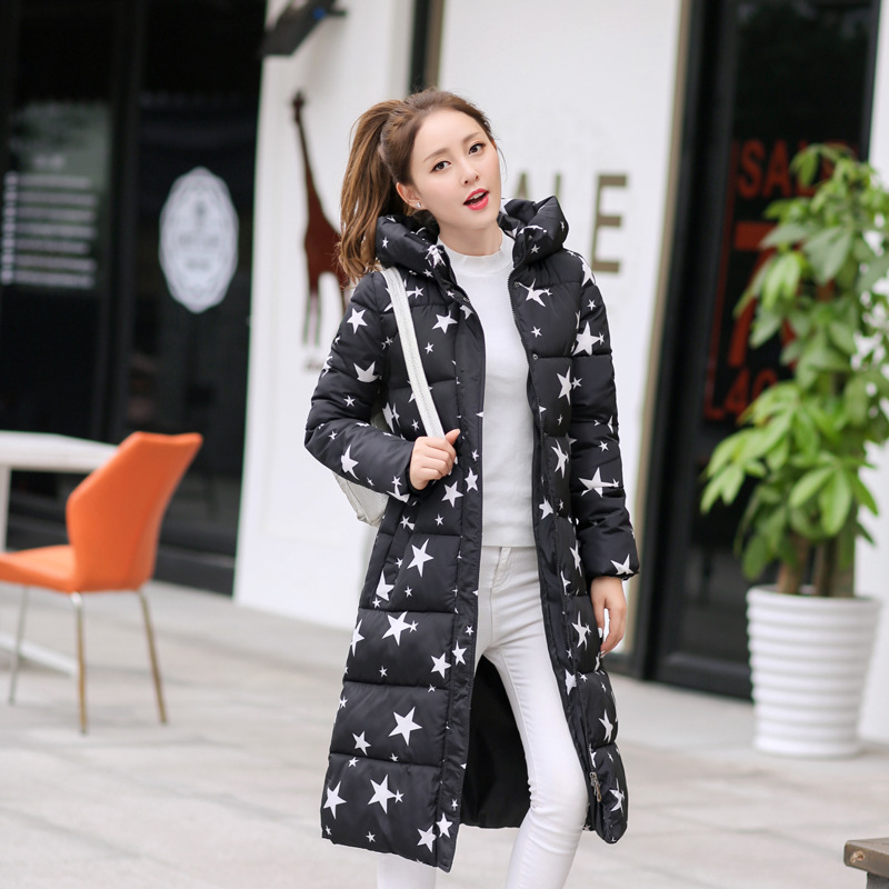 Winter Hooded Jacket slim was thin Korean printing Long down cotton padded parkas female outwear fashion tide Maxi coat MZ904g long coat womens jacket new printing was thin down cotton padded thick coat windbreaker
