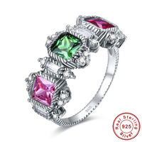 J C Lady S Luxury Wedding Genuine Blue Emerald Ruby Pink Topaz Fine Jewelry 100 Solid