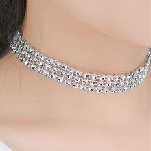 NK2033 3 Row Hyperbole Choker Necklace American & European Style Bling Wedding Engagement Party Jewelry Fashion Necklaces Women(China)