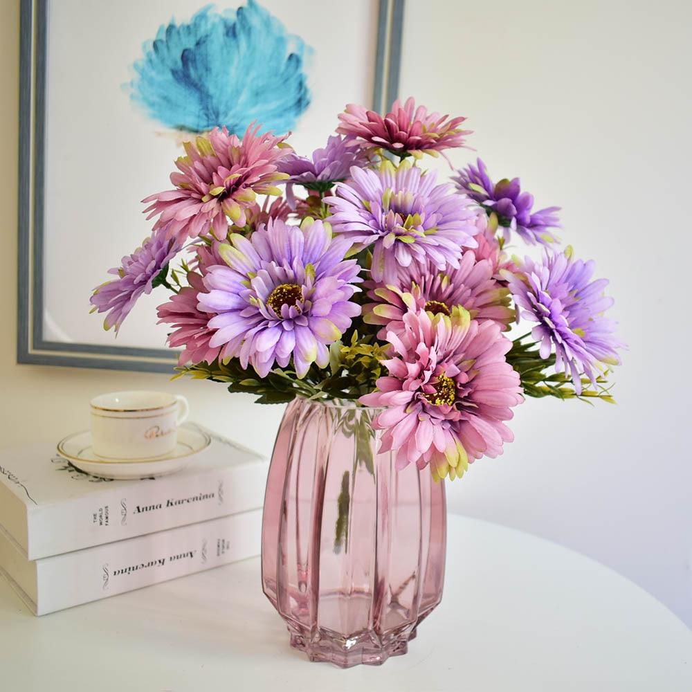 Vase en verre violet transparent moderne avec fleurs artificielles gerbera de soie pour la maison bureau boutique fête décorations de mariage bleu
