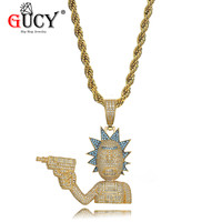 GUCY Rick And Morty Pendant Necklace All Iced Out Micro Pave Cubic Zirconia Men's Hip Hop Jewelry Gold Color Plated Charms Gift