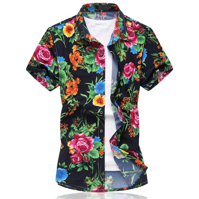 2016 moda verão curto camisa flor masculina de algodão mercerizado de alta elasticidade/homens de manga curta camisa silm fit pirnting casular
