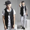 Men Vest 2017 New Mens Punk Style Hooded Vest Korean Fashion Runway Casual Personality Leather All-match Men's Strape Vest Coats