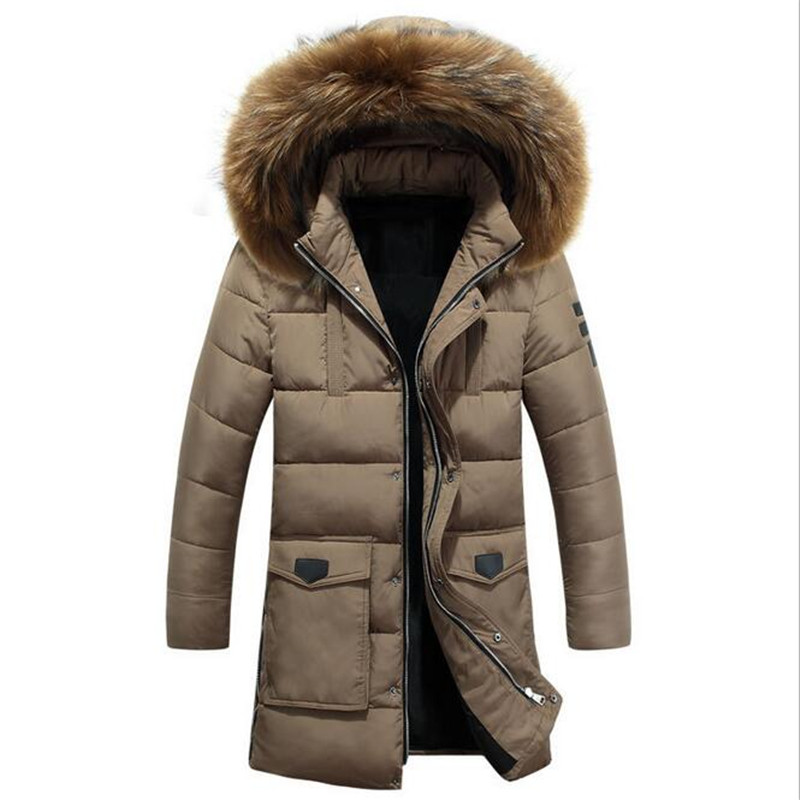 2016 New Brand Men Thick Padded Parka Winter Cotton Coat Jacket Thick Down Raccoon Fur Collar Slim Jaqueta Masculina  3XL  A2312 2016 new fashion men winter down jacket men parka coat thick warm cotton padded jacket mens winter coat jacket parka men 98