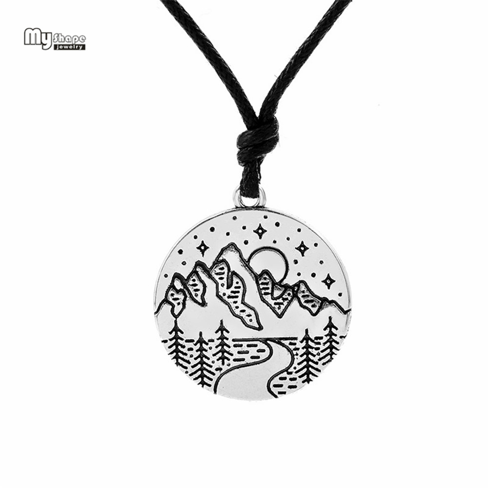 My shape valentine Himalayas Mountain Necklace Wanderlust Pendants Gift for Climbers Travel Antique Silver Charm 28*25mm