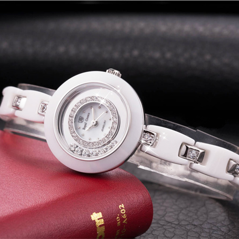 세라믹 레이디 여성용 시계 일본 석영 크리스탈 시간 고급 패션 시계 럭셔리 라인 석 소녀의 선물 로얄 크라운-에서여성용 시계부터 시계 의  그룹 1