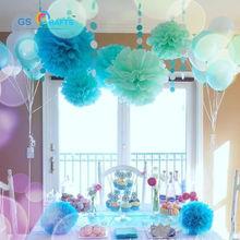 30pcs 4″ 6″ 8″ decorative Tissue Paper Pom Poms Mix Color Flower Balls Pompom for Wedding party Christmas home Decoration