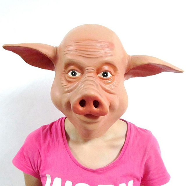 Full Head Pig for Masquerade Party Halloween Cosplay Animal Costume Props Latex Mask
