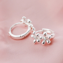 SA SILVERAGE Authentic 925 Sterling Silver Sunny Flower Hoop Earrings for Women Wedding Romantic Classic Fine Jewelry