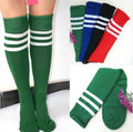 6 Colors Lady Striped Long Tube Tube Socks lacrosse Knee High Socks