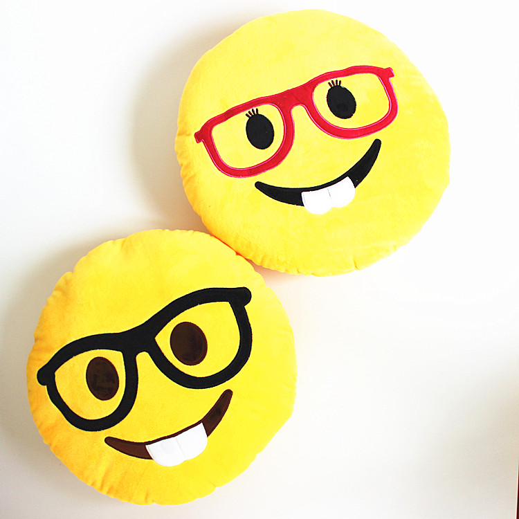 ∞32 cm novedad emoji con gafas dientes emoticon Cojines redondo