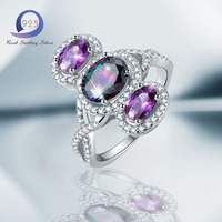 Merthus 925 Sterling Silver Mystic Rainbow Topaz Amethyst Infinity Halo Ring For Women