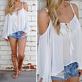 Fashion Summer 2016 Women Long Sleeve Off Shoulder Tank Vest Casual Loose Thin Shirt Tops Hot Selling