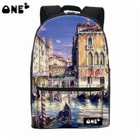ONE2 Design Lifelike Polyester School Bag Europe City Laptop Backpack Teenager Boys Girls Women Man College
