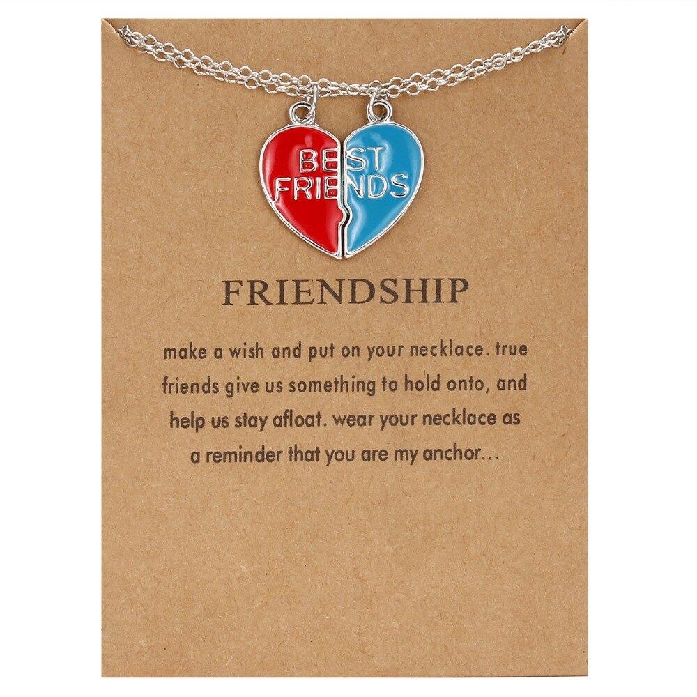 Подвеска в виде разбитого сердца, ожерелье, 2 шт, лучшие друзья, буквы, пара, ожерелье s для женщин, девушек, дружба, навсегда, ювелирное изделие с картой