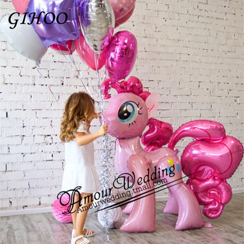 1 piezas 117*87 cm Arco Iris unicornio globos de papel de aluminio de los niños cumpleaños unicornio globos de fiesta suministros bebé ducha chico de juguete de regalo