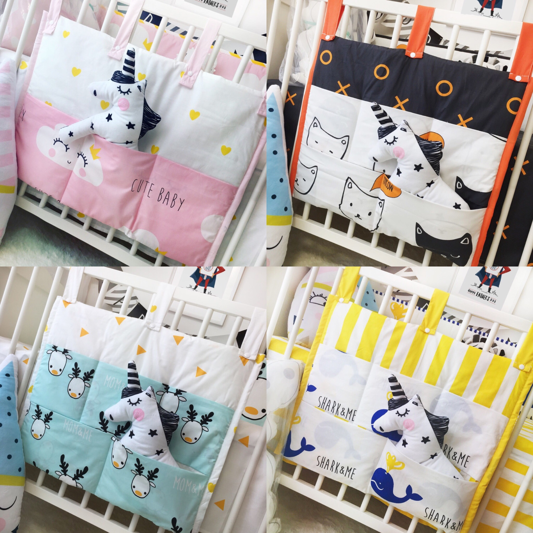 1 pc 55*50cm Baby bed Bedding Set Accessories Bag Cotton Nordic style crib Cots Bag diaper bag storage bag