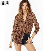 2017 Vendita Calda Primavera Sexy Stile Euramerican Leopardo Prospettiva Stampato High Street A Maniche Lunghe In Chiffon Camicetta Femininos BL1089