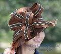 Envío de la Nueva Señoras de La Manera Formal Iglesia Sombrero de Las Mujeres sombrero de La Iglesia de Derby Sombreros de Raso de Tela de Raso de Flores de Dos Colores disponible