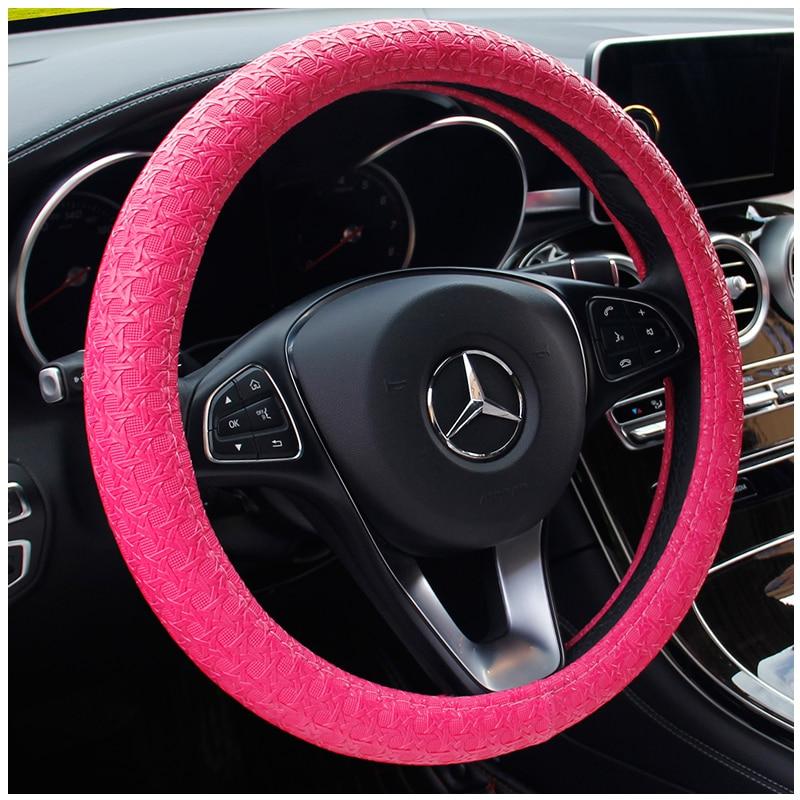 KKYSYELVA Car Interior Accessories Black Auto Sports Steering Wheel Cover Leather 38cm Vehicle Truch Steering Covers in Steering Covers from Automobiles Motorcycles