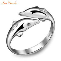 Genuine Real Pure Solid 925 Sterling Silver Rings For Women Fine Jewelry Dolphin Fashion Female Ring